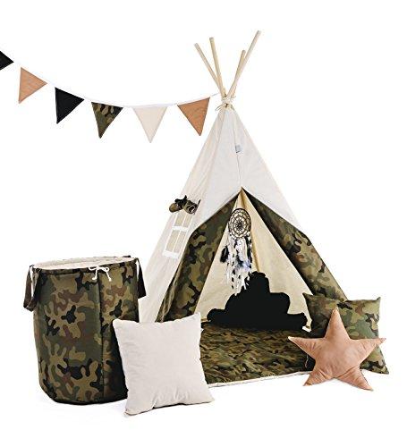 Indianerzelt Tipi Set für Kinder| Spielzeug Spielzelt Zelt mit Korb Tipi-Set Indianer Indianertipi (Tipi mit 8 Elementen, kleiner Soldat)