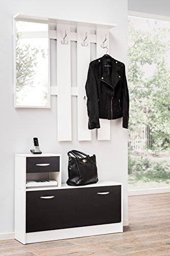 Avanti trendstore - rudolf - guardaroba da ingresso, in imitazione nero / bianco, dimensioni lap ca. 100x180x25 cm