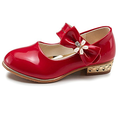 Oasap Girl's Velcro Strap Mary Jane Low Heels Shoes red