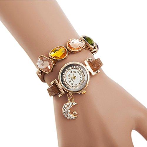 Tinksky Damen-Armband-Uhren Bling Steinen mit Mond Anhänger Armbanduhr Wrap (Damen-uhr Storage)