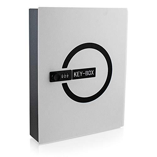BITUXX® Design Safe Tresor Schlüsselsafe Schlüsselkasten Schlüsseltresor Schlüsselsafe Schlüsselschrank mit 24 Schlüsselhacken und Zahlenschloss Weiß