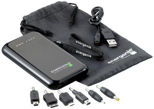 Energenie Chargenie 5,000mAh Universal Ladegerät mit 6 Anschlussstecker Kompatibel mit Nokia, Sony Ericsson, Mini USB, Samsung und USB Geräte - Schwarz