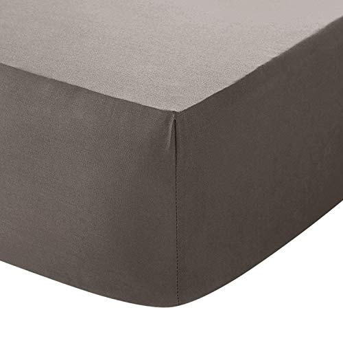 Linen Zone Egyptian Cotton 200 Thread 30CM/12 Deep Fitted Bed Sheet, Double - Grey -