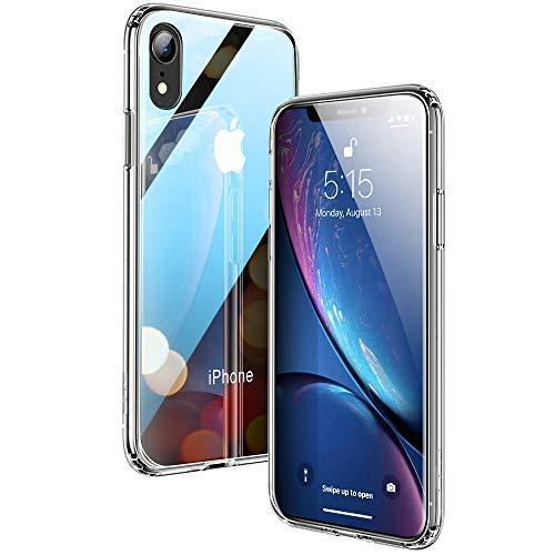 ESR Hülle für iPhone XR - Hartglas Handyhülle mit weichem TPU Rahmen - Handy Schutzhülle für iPhoneXR (6,1 Zoll) - Klar