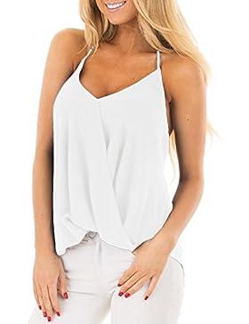 ACHIOOWA Donna Canotta Spalle Scoperte Collo V Senza Manica Maglietta Maglie Bluse Top Sexy Elegante Casual