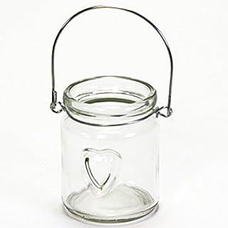 Annastore 12 x Windlichter aus Glas Herz mit Henkel - Teelichtgläser Teelichthalter Hängeteelichhalter