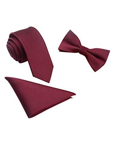 ic 6 * 12cm Fliege & 6cm Schmale Krawatte & 22 * 22 cm Einstecktuch 3 in 1 Sets - Einfarbig Burgund Rot ()