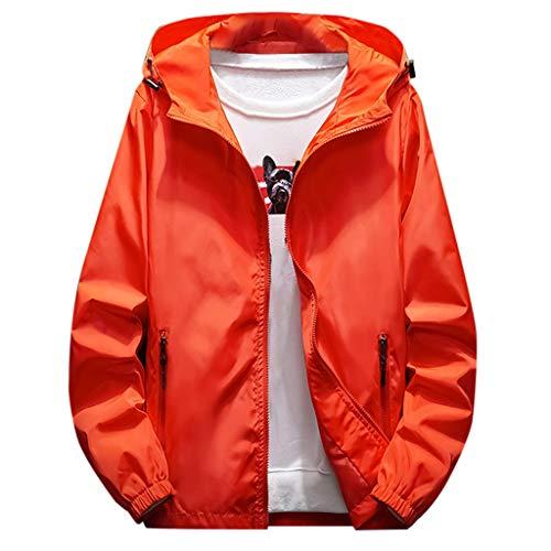KPILP Herren Regenjacke Windbreaker Outdoorjacke mit Kapuze Atmungsaktiv Laufjacke Freizeitjacke Hoodies Kapuzenjacke Einfarbig Slim Jacke Mantel Outwear