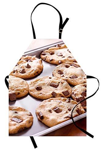 Cookie-Schürze, gebackene Schokoladenkekse Süßigkeiten aus dem Ofen Frische hausgemachte Kochen Themed Print, Unisex-Küche Latzschürze mit verstellbarem Hals für das Kochen Backen Gartenarbeit, ()