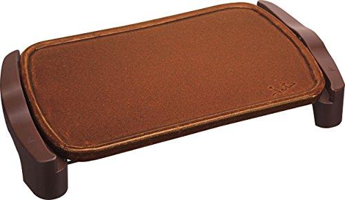 Jata Plancha de asar de terracota GR559 - Fabricada artesanalmente en España, No se raya, Superficie: 46 x 28 cm, Fácil limpieza, Consigue un sabor natural