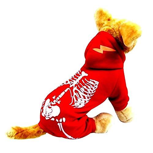 HDE Skelett-Halloween-Kostüm für Hunde, mit Skelett-Aufdruck und Kapuze, Rot, Large, - Familienfreundliche Kostüm