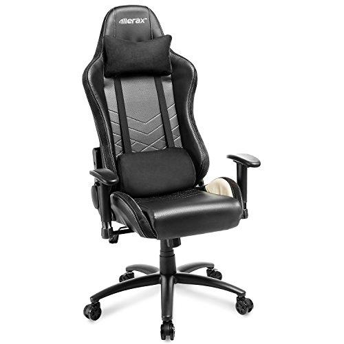 Merax Schreibtischstuhl Gamingstuhl Bürostuhl Sportsitz Drehstuhl Chefsessel Ergonomisches Racing Stühle mit Kissen 3D Armlehnen Einstellbar Computerstuhl Gaming Stuhl Sessel bis 150kg (Schwarz)
