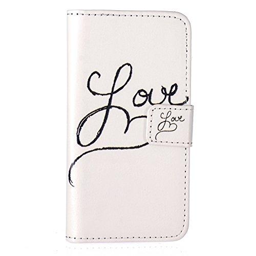 Aeeque iPhone 5S Bookstyle Étui Card Slot [Beau Series] Housse en Cuir Fermeture Magnétique Case à rabat pour iPhone 5 5S SE Coque de protection Portefeuille TPU Case - Papillon Bleu LOVE