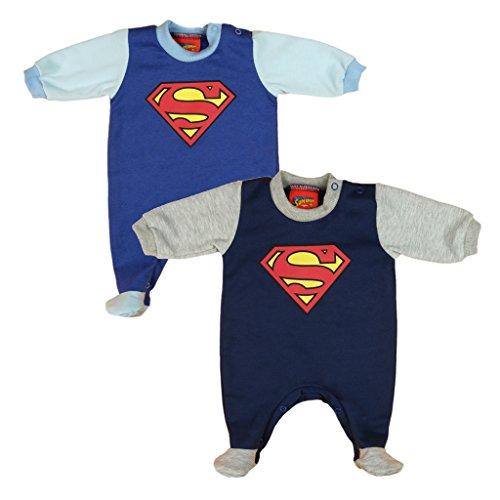 Jungen BABY-STRAMPLER mit Füßchen GEFÜTTERT von SUPERMAN in GRÖSSE 56, 62, 68, 74, 80 in blau, Baby-Schlafanzug LANG-ARM mit Druck-Knöpfen durchgehend, Spiel-Anzug Color Blau, Size 80