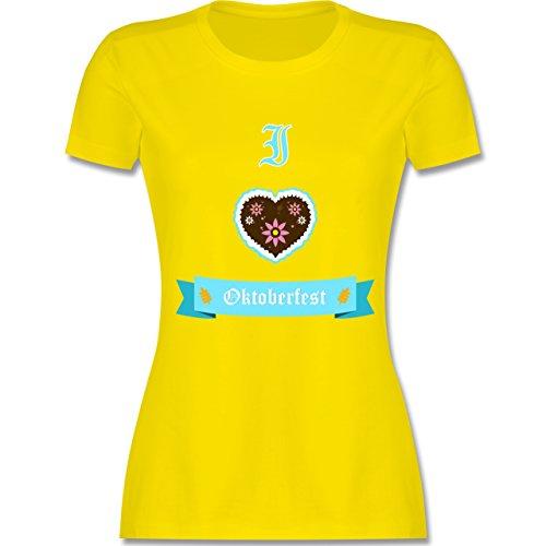 Shirtracer Oktoberfest Damen - I Love Oktoberfest - Damen T-Shirt Rundhals Lemon Gelb