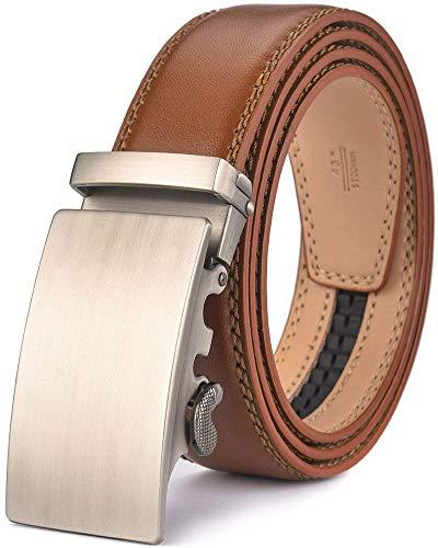 Wetoper Cinturón de cuero para hombres Ajuste,Sencillo y clásico, con hebilla automática.35mm Ancho (No:2, 130cm/34-44' cintura ajustable)