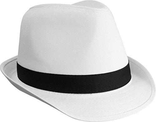 Unisex Freizeit Fedora Hut mit Zierband Farbe Weiß Größe L/XL (Beerdigung Kostüm)