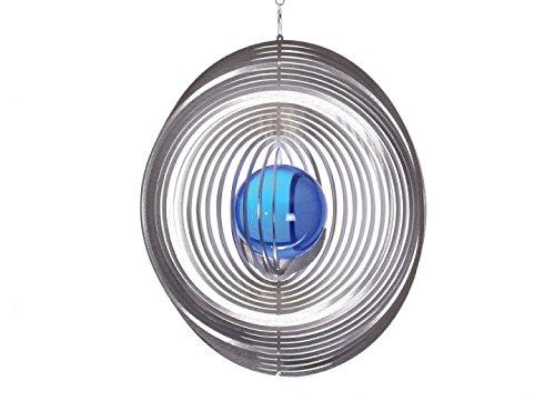 Illumino Edelstahl-Windspiel Kreis Maxi XXL mit kobaltblauer 70mm Glaskugel