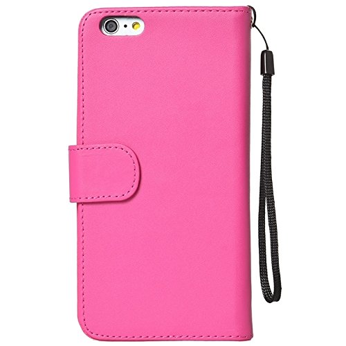 Wkae Case Cover Mappen-Art-Six-Karten-Slots PU Ledertasche mit Lanyard für iPhone 6 Plus & 6S plus ( Color : White ) Magenta