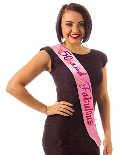 Alandra Birthdays FS-50/P Pink Flashing 50th Birthday Sash 50 and Fabulous,  Unisex-Adult, One Size