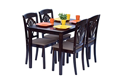 DeckUp Vivanta Four Seater Dining Table Set (Rubber Wood, Wenge)