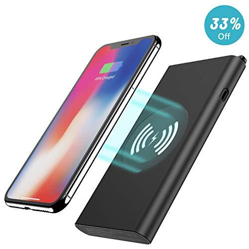 Beefix PBD22 QI Wireless Induktions, 8000mAh 2-in-1 ladegerät Externer Akku Tragbares Power Bank für Apple iPhone X/8/8 Plus, Samsung Galaxy S8/S8 Plus/Note 8/S7/S7 Edge/S6 Edge Plus (Externer Akku Für Note Edge)