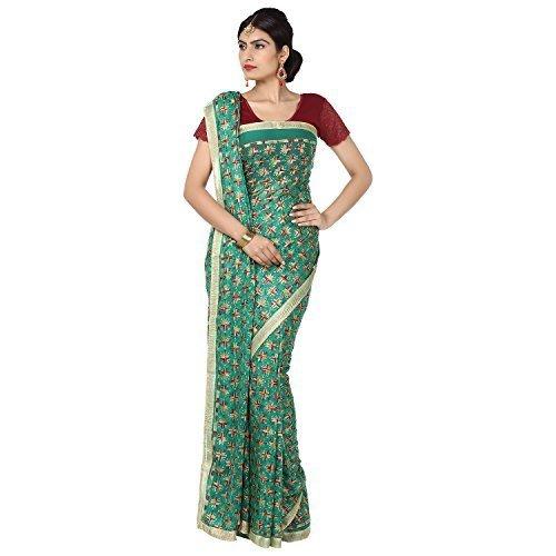 Ethnic Bliss Lifestyles Chiffon Saree (Ebl-Phksr-Mc-Gr-01A_Green & Multicolured)