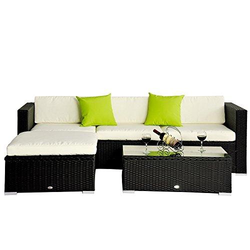 Outsunny 5pc rattan wicker conservatory furniture garden for Sofa exterior amazon