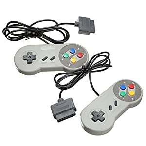 TRIXES 2 Stück Retro SNES Kompatible Ersatz Controller Gamepad Joystick Super Nintendo Entertainment System