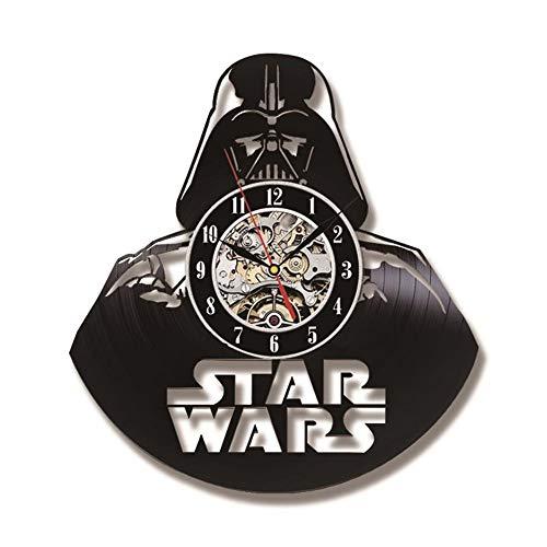 Mcho&ff Darth Vader Modelo Reloj de grabación de CD de Black Hollow El Tema de Star Wars Estilo Antiguo Vinilo Reloj de Pared Colgante Reloj LED