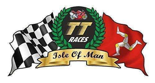 ISLE OF MAN per Manx TT Races Moto GP Road Racing con stemma, vinile auto-adesivo vinilico per casco Badge, 100 x 50 mm circa.