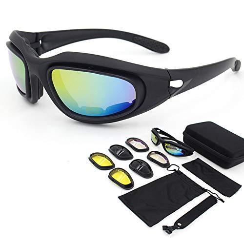 Yiph-Sunglass Sonnenbrillen Mode Neue Vier Objektive PC Outdoor Fahrrad Reiten Brille CS Taktische Schutzbrille Motorrad Brille UV-Schutz (Color : Black)