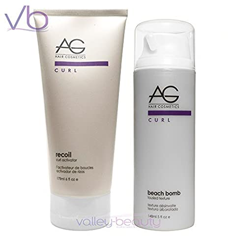 AG Hair Recoil Curl Activator 6oz & Beach Bomb Tousled Texture 5oz Set by AG Hair Cosmetics (Recoil Curl-activator)