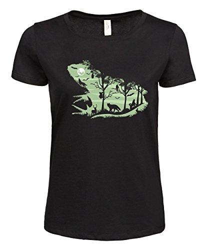 makato Damen T-Shirt Bedruckt mit Motiv Druck Print Froggy Night Schwarz Black XL (T-shirt Frosch-design-schwarz)