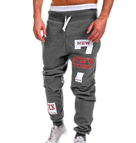 Für Männer Hose Lange (ZEZKT-Herren Casual Hose Lang Frühling Fitness Loose Crotch Hose Hiphop Dance Jogger Sweatpants Baggy Designer Chino Stoff Hose Regular Fit Outdoorhose Freizeithose Stretch Basic (3XL, Dunkelgrau))