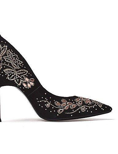 ShangYi Damenschuhe - High Heels - Hochzeit / Kleid / Party & Festivität - Wildleder - Stöckelabsatz - Absätze / Spitzschuh - Schwarz / Rot Black