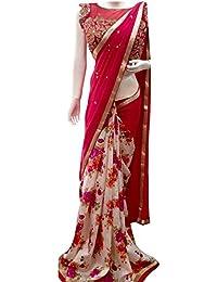 Isha Enterprise Women's Georgette Thread Work Saree (Red & White)