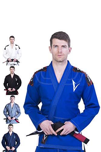 Kimono Vector Attila Series de Jiu Jitsu con cinturón blanco, ligero, 100% algodón, A1, Azul
