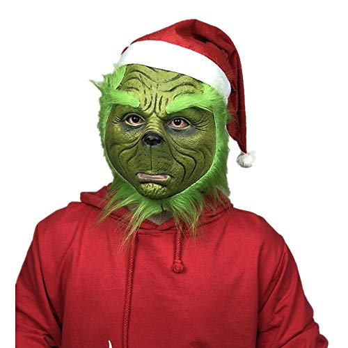 Kostüm Dress Geek Up - CHUNDAN Weihnachtsmaske Dieb grünes Monster Dieb Maske Christmas Geek Perücke