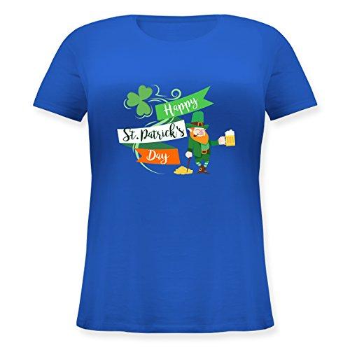 Shirtracer St. Patricks Day - Happy St. Patricks Day Kobold - Lockeres Damen-Shirt in Großen Größen mit Rundhalsausschnitt Blau