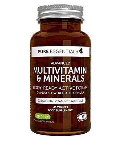 Multivitaminico & Minerali con Estratti Puri | Formula attiva ad assorbimento rapido con Folato| 2 al giorno | 60 compresse
