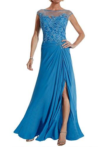 Missdressy Damen Promkleid Abendkleid Tuell Chiffon Lang Spitze UAusschnitt  Falte Blau