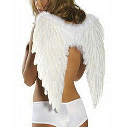 Frauen Flügel Kostüm Engel - Leegoal Schwarzer Engelsflügel Engel Federn Flügel für Kostüm Fairy Fancy Ball für Halloween Weihnachten Urlaubsparty, 23.6x17.7 '' Weiß