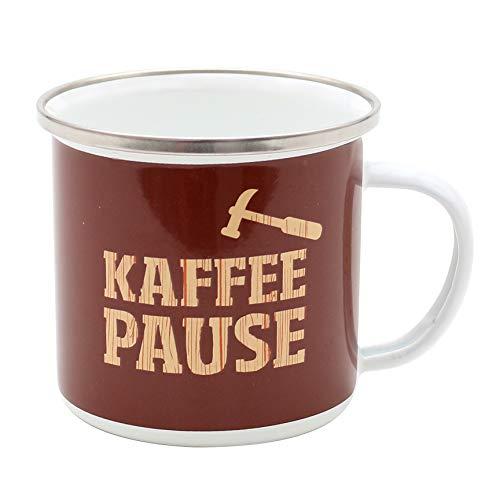 Dekohelden24 Emaillebecher/Emaillierter Becher aus Metall, Motiv: Kaffee-Pause, Maße: Höhe/Ø: 11,5 x 8,5 cm. -