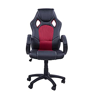 HOMCOM Gaming Silla Oficina ejecutiva Deportiva Racing Altura Regulable Respaldo Inclinable giratoria Silla Gamer de PC Negro/Rojo