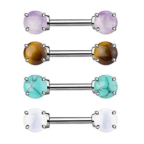 beyoutifulthings HALB-EDELSTEINE AMETHYST OPALIT TIGERAUGE TÜRKIS Brustwarzen-piercing SET Intim-piercing Brust-piercing Edelstahl 1,6mm 14mm