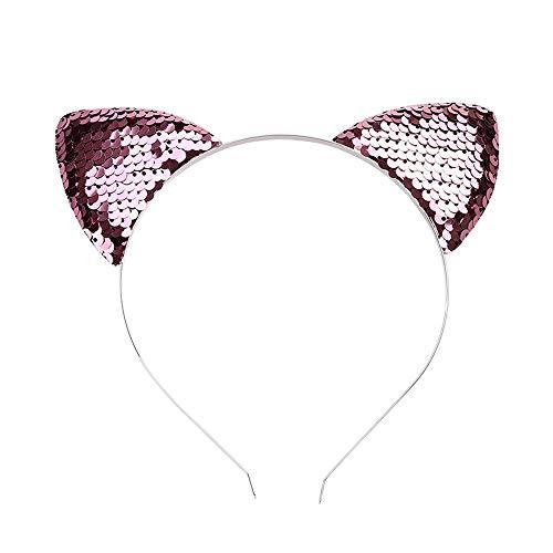 EERTX - ♛♛ Kopfbedeckung Damen Pailletten Katze Ohren Stirnband Haarband Cosplay Geburtstagsparty