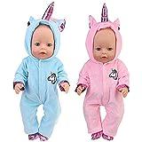 WENTS Disfraz de Unicornio Bebe Baby Born Onesie Unicorn Pelele de muñeca Ropa de Bebe Unicornio para Muñecas de Bebé en Tama