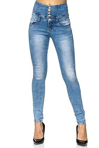 Elara Damen Stretch Hose | High Waist Jeans| Skinny Jegging | hoher Bund | Slim Fit | Chunkyrayan M605 Blue 38