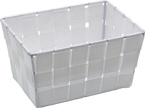Wenko Adria - Cesta para el baño y el hogar de forma alargada, material plástico tejido, de tamaño mini, 19 x 9 x 14 cm, color blanco
